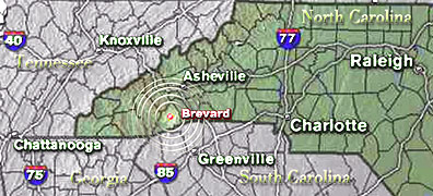 Map location of Brevard, NC